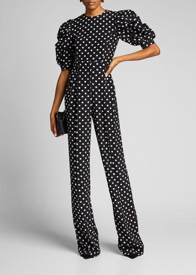 Dotted Puff-Sleeve Silk Crop Top