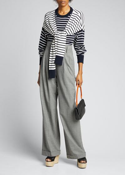 High-Waist Pleated Pants