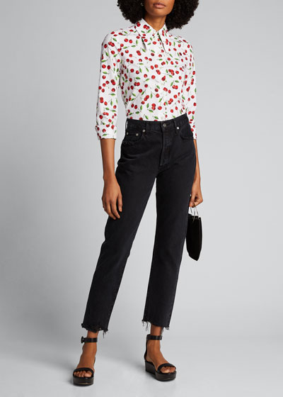 Cherry Print Button-Front Shirt