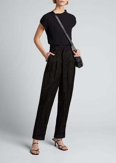 Washed Sateen High-Rise Pants