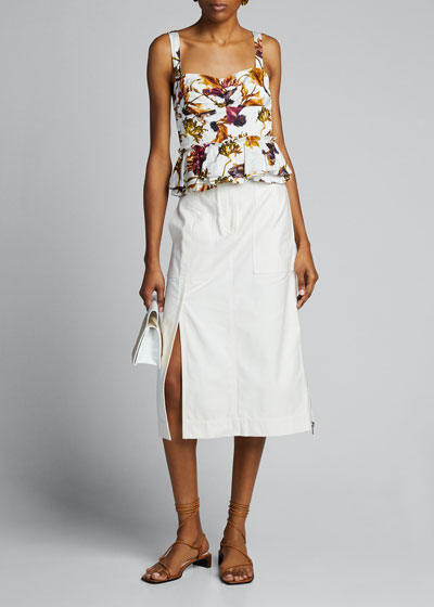Floral Washed Sateen Peplum