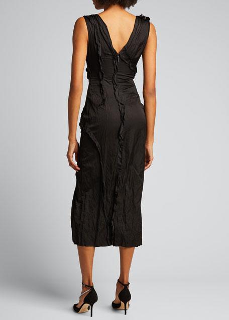 Washed Sateen V-Neck Cocktail Dress