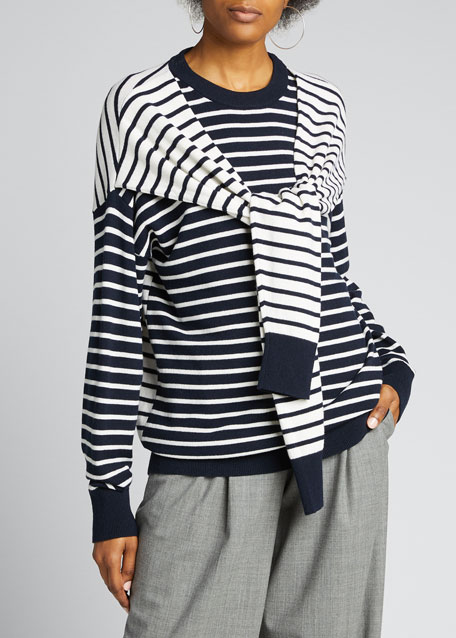 Image 1 of 1: Cashmere Striped Wrapped Sweater