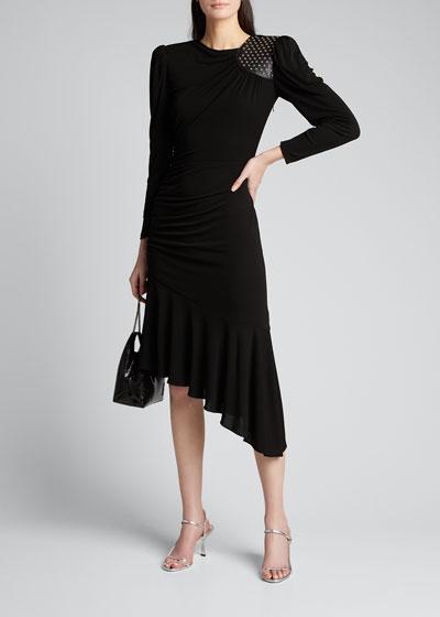 Studded Leather Patch Asymmetric Dress