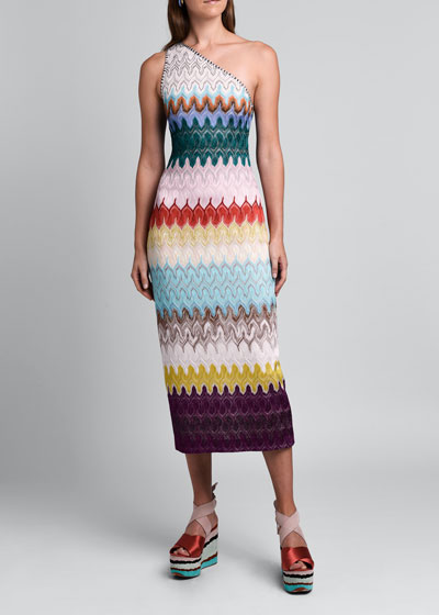 One-Shoulder Flame-Knit Bodycon Dress