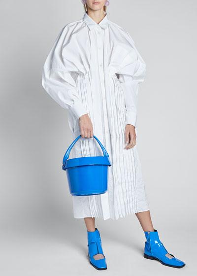 Poplin Long-Sleeve Pleated Bottom Midi Dress