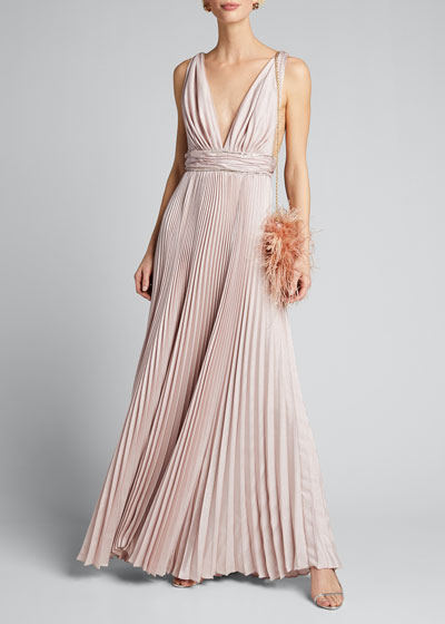 Pleated Silk Belted Gown