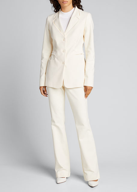 Image 1 of 1: Trompe L'Oeil Belted Tailored Jacket