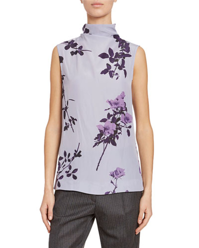 High-Neck Floral Blouse