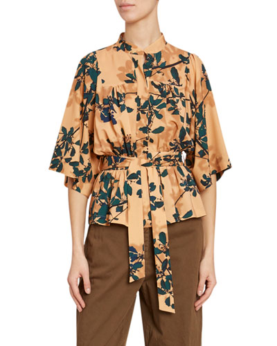 Leaf-Print Satin Fit-&-Flare Button-Front Blouse