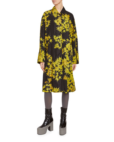Leaf Print Nylon Trench Coat