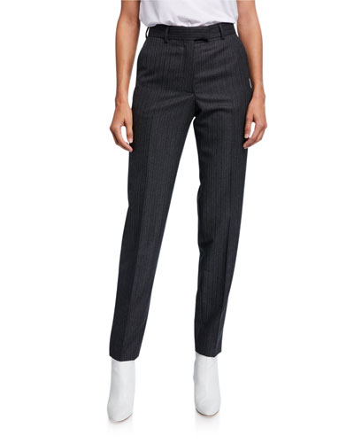 Pinstriped Wool Front Pants