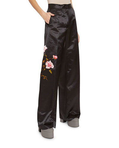 Satin Rose Print Wide-Leg Pant