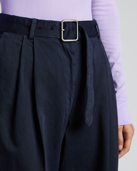 Belted Cotton Cropped Pants