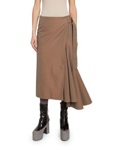 Iridescent Side-Pleated Skirt