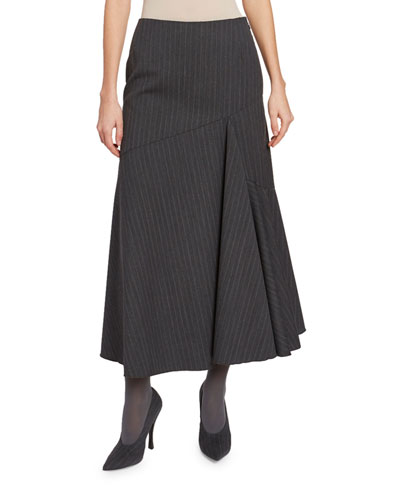 Pinstriped Asymmetric Skirt