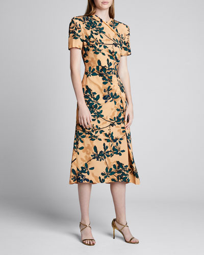 Delores Floral Print Draped-Front Dress