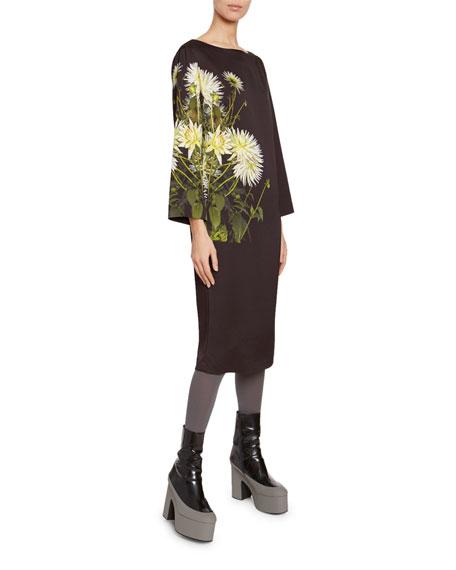 Floral Print Satin Long-Sleeve Dress