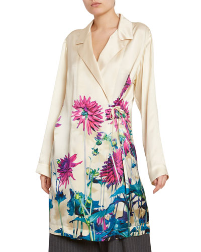 Floral-Print Satin Wrapped Blazer Tunic