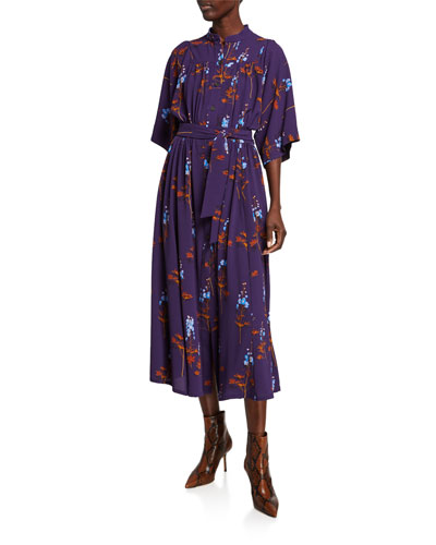 Floral Print Flutter-Sleeve Shirtdress