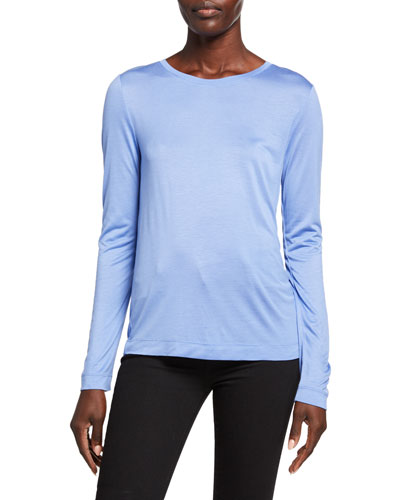Jersey Crewneck Long-Sleeve Top