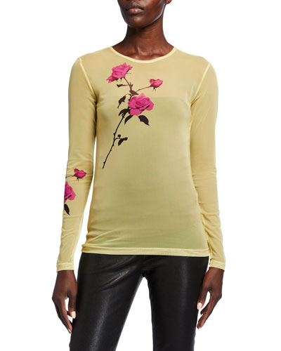 Floral-Print Sheer Long-Sleeve Top