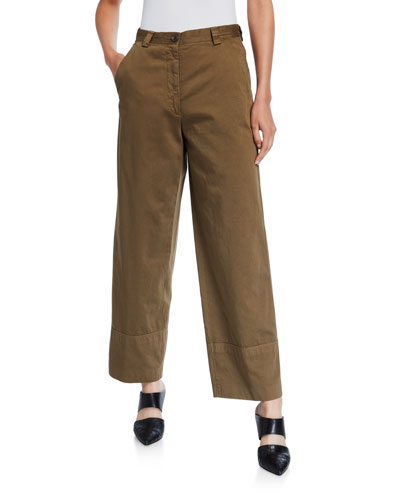 Cotton Wide-Leg Cuffed Pants