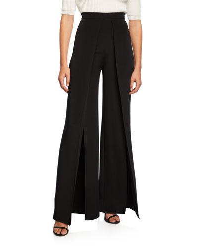 High-Rise Pleated Wide-Leg Pants