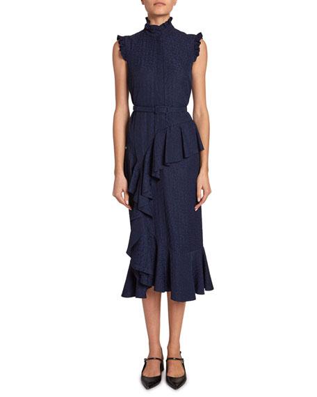 Irina Floral Jacquard Belted Ruffle Dress by Erdem