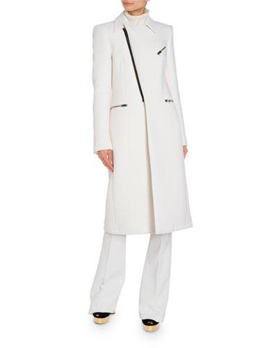 Leather Trim Military Coat