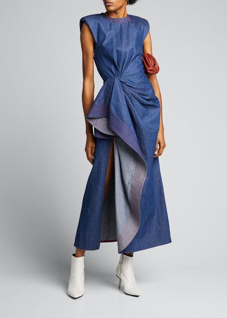 Denim Stitched-Side Cocktail Dress