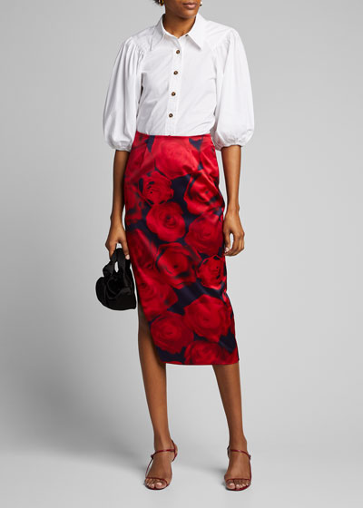 Floral Print Silk Pencil Skirt
