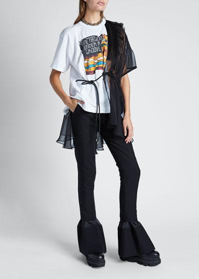 Funkadelic-Print  T-Shirt with Chiffon Detail