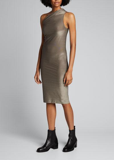 Lame One-Shoulder Knee-Length Dress