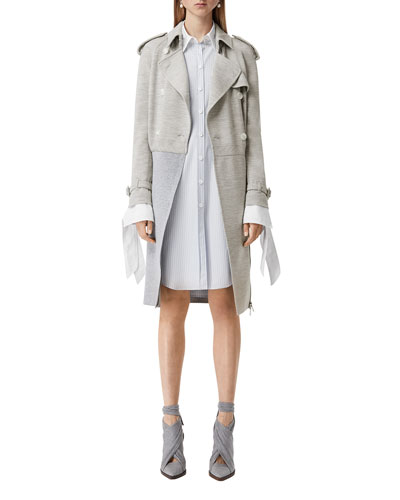 Two-Tone Jersey Trench Coat