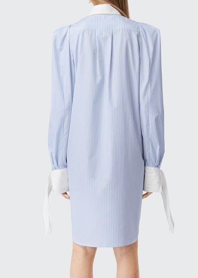 Pinstriped Tie-Cuff Shirtdress