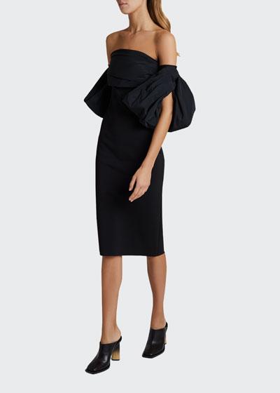 Strapless Puff-Sleeve Midi Dress