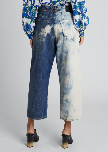 Denim Combo Cropped Pants