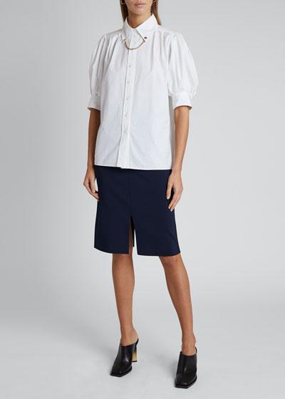 Puff-Sleeve Chain-Collar Shirt