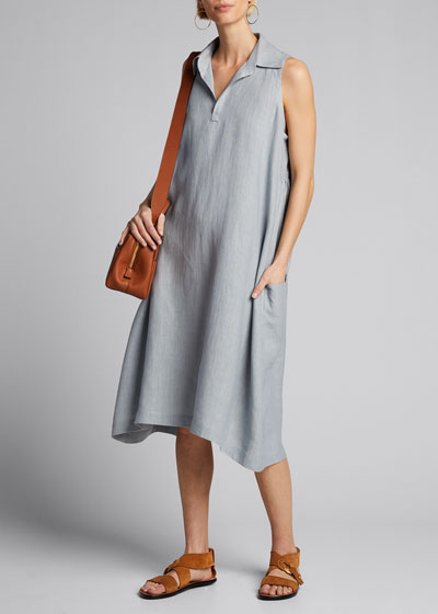 Linen Sleeveless Midi Dress