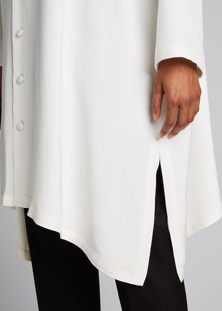 Wide A-line Mid Weight Silk Long Shirt