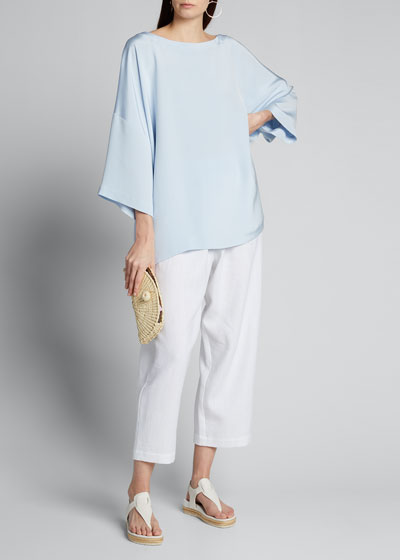Satin 3/4-Sleeve Bateau-Neck Tunic