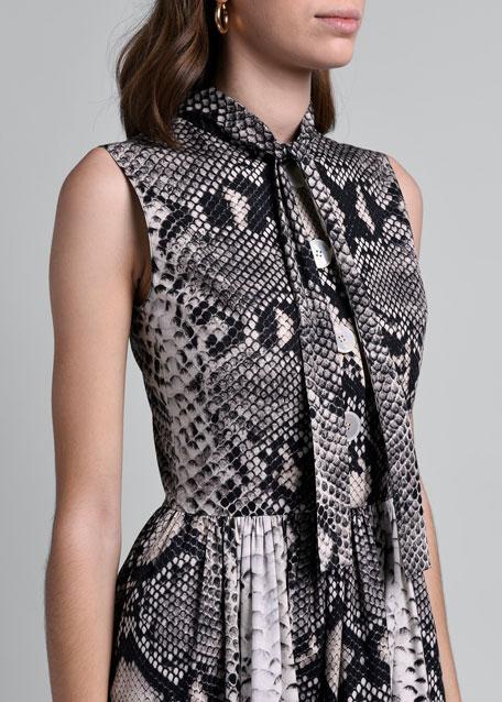 Python-Print Tie-Neck Shirtdress