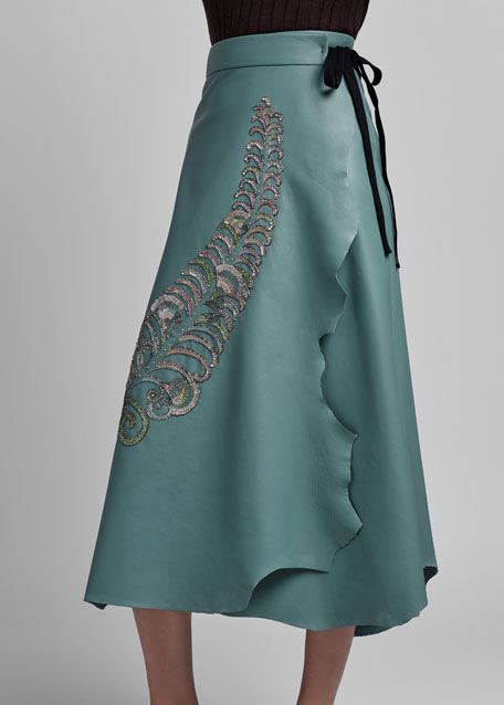 Beaded Feather Embroidered Leather Skirt