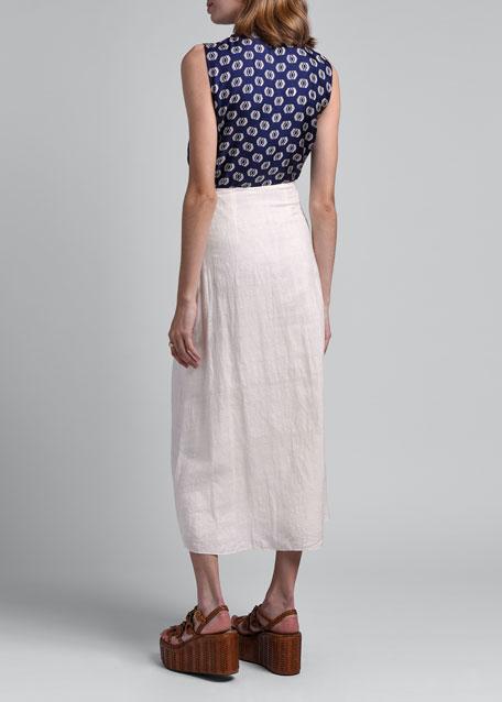 Silk Gauze Midi Skirt