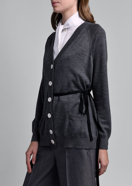 Button-Front Cardigan w/ Self- Tie