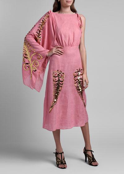 Toile Gauze Dress w/ Sequin Detail