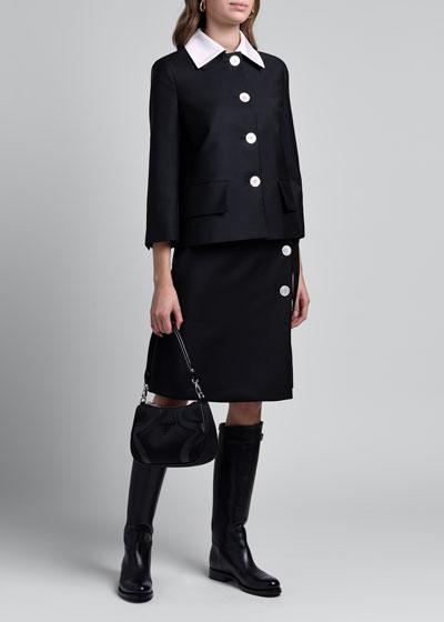 Compact Twill Jacket with Poplin Collar