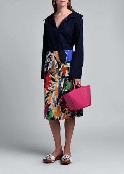 Painted Poplin Midi A-Line Skirt