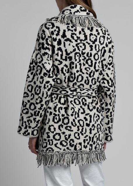 Leopard-Print Cardigan with Fringe Trim